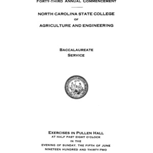 North Carolina State College of Agriculture and Engineering, Forty-Third Annual Commencement, June 5, 1932
