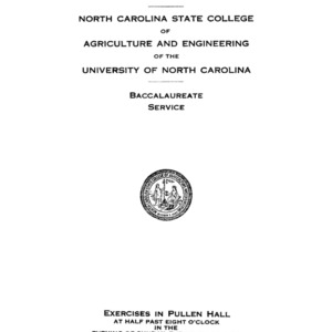 North Carolina State College of Agriculture and Engineering, Forty-Fifth Annual Commencement, June 10, 1934