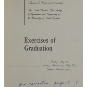 North Carolina State College of Agriculture and Engineering, Sixty-Eighth Annual Commencement, May 26, 1957