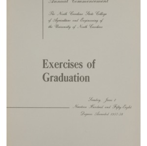 North Carolina State College of Agriculture and Engineering, Sixty-Ninth Annual Commencement, June 1, 1958