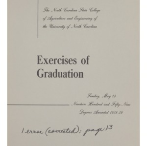 North Carolina State College of Agriculture and Engineering, Seventieth Annual Commencement, May 24, 1959