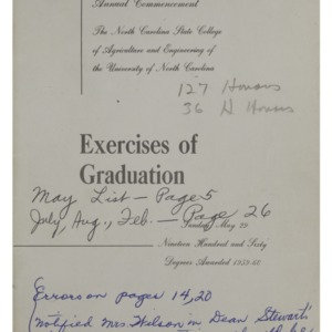 North Carolina State College of Agriculture and Engineering, Seventy-First Annual Commencement, May 29, 1960