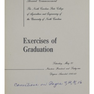 North Carolina State College of Agriculture and Engineering, Seventy-Second Annual Commencement, May 27, 1961