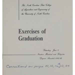 North Carolina State College of Agriculture and Engineering, Seventy-Third Annual Commencement, June 2, 1962