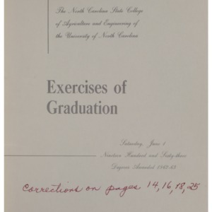 North Carolina State College of Agriculture and Engineering, Seventy-Fourth Annual Commencement, June 1, 1963