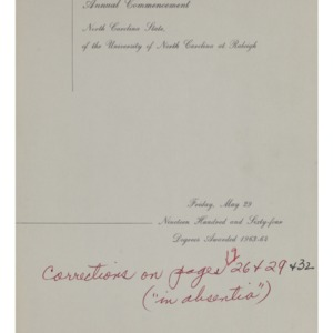 North Carolina State, Seventy-Fifth Annual Commencement, May 29, 1964