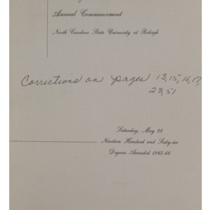 North Carolina State University, Seventy-Seventh Annual Commencement, May 28, 1966