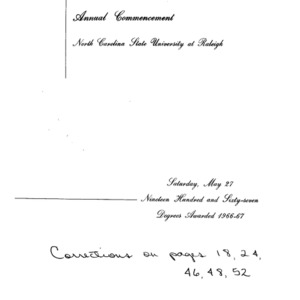 North Carolina State University, Seventy-Eighth Annual Commencement, May 27, 1967
