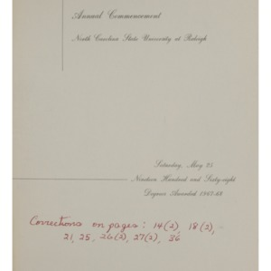 North Carolina State University, Seventy-Ninth Annual Commencement, May 25, 1968
