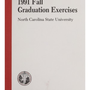 North Carolina State University 1991 Fall Graduation Exercises, December 18, 1991