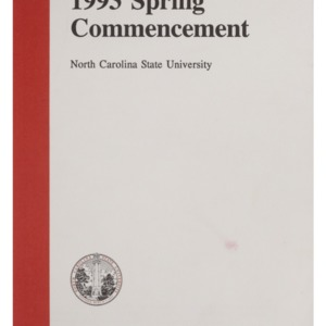 North Carolina State University 1993 Spring Commencement, May 8, 1993