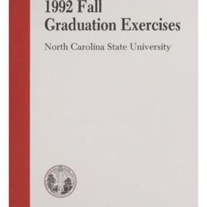 North Carolina State University 1992 Fall Graduation Exercises, December 16, 1992
