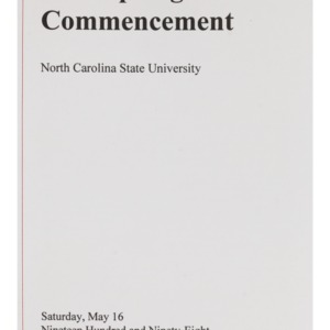 North Carolina State University 1998 Spring Commencement, May 16, 1998