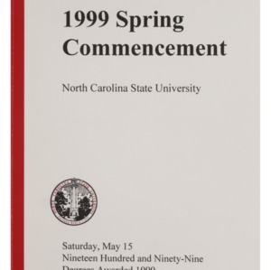 North Carolina State University 1999 Spring Commencement, May 15, 1999