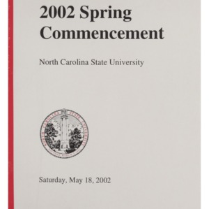 North Carolina State University 2002 Spring Commencement, May 18, 2002