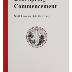 North Carolina State University 2003 Spring Commencement, May 17, 2003