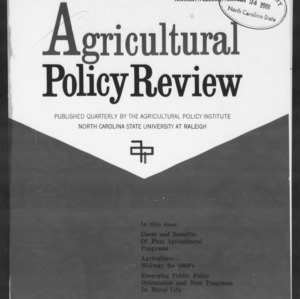 Agricultural Policy Review Vol 6. No 1.