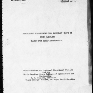 Fertilizers Recommended for Important Crops of North Carolina Based upon Field Experiments (Agronomy Information Circular No. 2)
