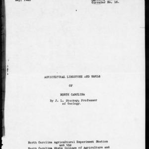 Agricultural Limestone and Marls of North Carolina (Agronomy Information Circular No. 16)