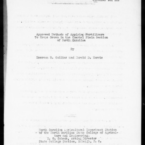 Approved Methods of Applying Fertilizers to Crops Grown in the Coastal Plain Section of North Carolina (Agronomy Information Circular No. 122)