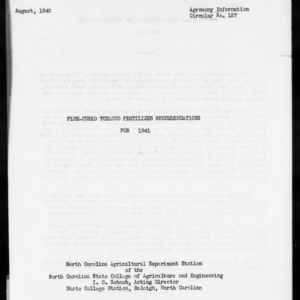 Flue-Cured Tobacco Fertilizer Recommendations for 1941 (Agronomy Information Circular No. 127)