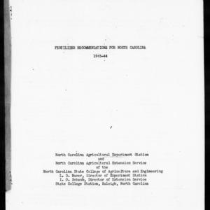 Fertilizer Recommendations for North Carolina, 1943-1944 (Agronomy Information Circular No. 133)