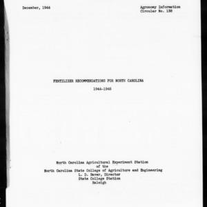 Fertilizer Recommendations for North Carolina, 1944-1945 (Agronomy Information Circular No. 138)