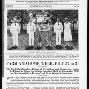 Extension Farm-News Vol. 16 No. 10, July 1931