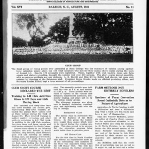 Extension Farm-News Vol. 16 No. 11, August 1931