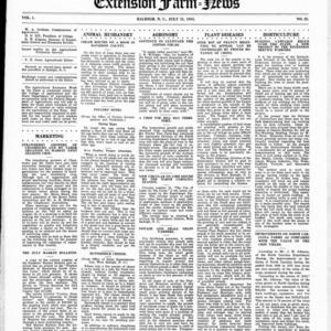 Extension Farm-News Vol. 1 No. 25, July 31, 1915