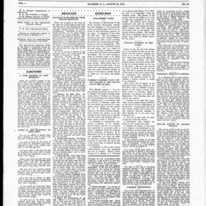Extension Farm-News Vol. 1 No. 29, August 28, 1915