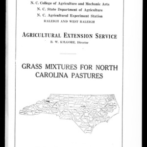 Grass Mixtures for North Carolina Pastures (Extension Circular No. 17)