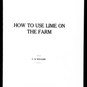 How to Use Lime on the Farm (Extension Circular No. 24, Reprint and Revision)