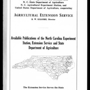 Available Publications of the North Carolina Experiment Station, Extension Service, and State Department of Agriculture (Extension Circular No. 34)