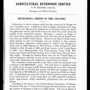 Developing Credit in the Country (Extension Circular No. 41)