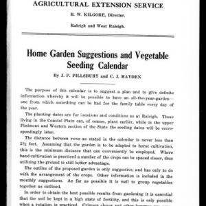 Home Garden Suggestions and Vegetable Seeding Calendar (Extension Circular No. 43, Reprint)