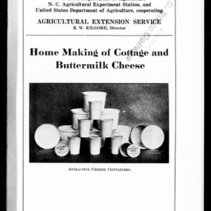 Home Making of Cottage and Buttermilk Cheese (Extension Circular No. 62)