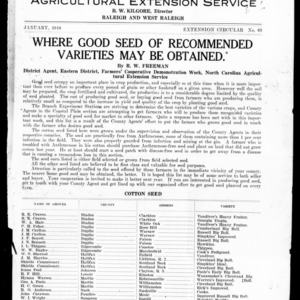 Where Good Seed of Recommended Varieties May be Obtained (Extension Circular No. 63)