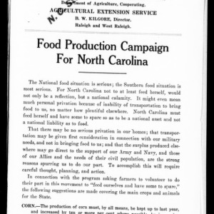 Food Production Campaign for North Carolina (Extension Circular No. 65)