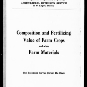 Composition and Fertilizing Value of Farm Crops and Other Farm Materials (Extension Circular No. 70)