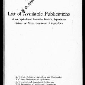 List of Available Publications of the Agricultural Extension Service, Experiment Station, and State Department of Agriculture (Extension Circular No. 91)