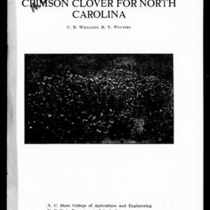 Crimson Clover for North Carolina (Extension Circular No. 98)