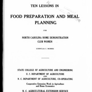 Ten Lessons in Food Preparation and Meal Planning for North Carolina Home Demonstration Club Women (Extension Circular No. 139)