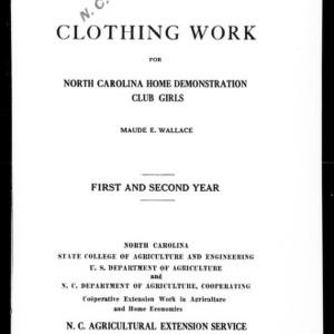 Clothing Work for North Carolina Home Demonstration Club Girls (Extension Circular No. 145)