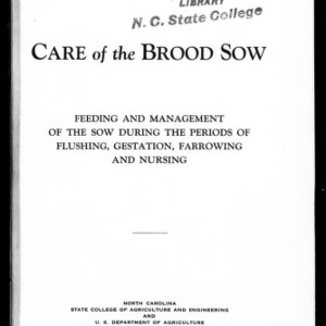 Care of the Brood Sow: Feeding and Management of the Sow During the Periods of Flushing, Gestation, Farrowing and Nursing (Extension Circular No. 151, Reprint)