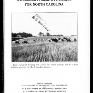 A Business Farming Program for North Carolina (Extension Circular No. 163)