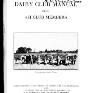 Dairy club manual for 4-H club members (Extension Circular No. 179)