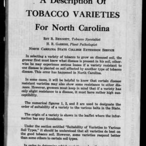 A Description of Tobacco Varieties for North Carolina (Extension Circular No. 302)