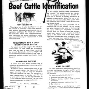 Beef Cattle Identification (Circular No. 531)
