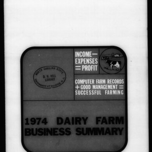 1974 Dairy Farm Business Summary (Circular No. 608)